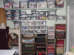 an organized sewing studio