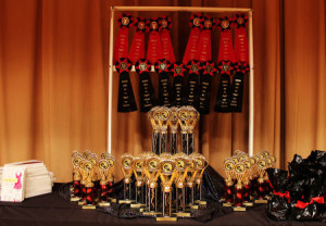 black and red fashion show trophies
