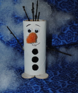the happy snowman olaf craft made from a painted toilet paper roll